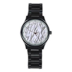 Skin3 White Marble & Silver Paint (r) Stainless Steel Round Watch by trendistuff