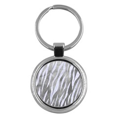 Skin3 White Marble & Silver Paint Key Chains (round)  by trendistuff
