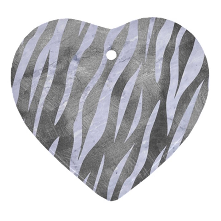SKIN3 WHITE MARBLE & SILVER PAINT Heart Ornament (Two Sides)