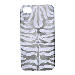 Skin2 White Marble & Silver Paint (r) Apple Iphone 4/4s Hardshell Case With Stand by trendistuff