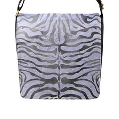 Skin2 White Marble & Silver Paint (r) Flap Messenger Bag (l)  by trendistuff