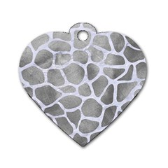 Skin1 White Marble & Silver Paint (r) Dog Tag Heart (one Side) by trendistuff