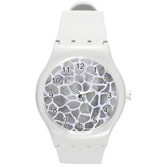 Skin1 White Marble & Silver Paint (r) Round Plastic Sport Watch (m) by trendistuff