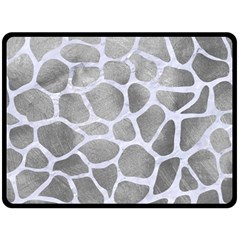Skin1 White Marble & Silver Paint (r) Double Sided Fleece Blanket (large)  by trendistuff