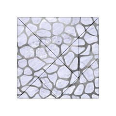 Skin1 White Marble & Silver Paint Acrylic Tangram Puzzle (4  X 4 ) by trendistuff