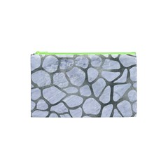Skin1 White Marble & Silver Paint Cosmetic Bag (xs) by trendistuff
