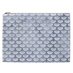 Scales3 White Marble & Silver Paint (r) Cosmetic Bag (xxl)  by trendistuff