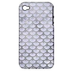 Scales3 White Marble & Silver Paint (r) Apple Iphone 4/4s Hardshell Case (pc+silicone) by trendistuff