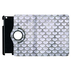 Scales3 White Marble & Silver Paint (r) Apple Ipad 2 Flip 360 Case by trendistuff