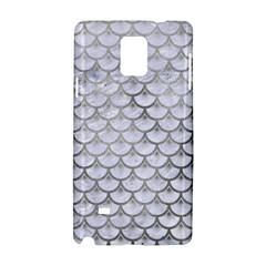 Scales3 White Marble & Silver Paint (r) Samsung Galaxy Note 4 Hardshell Case by trendistuff