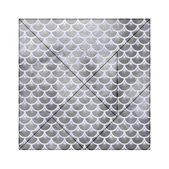 Scales3 White Marble & Silver Paint Acrylic Tangram Puzzle (6  X 6 ) by trendistuff