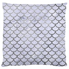 Scales1 White Marble & Silver Paint (r) Large Cushion Case (two Sides) by trendistuff