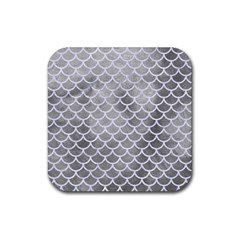 Scales1 White Marble & Silver Paint Rubber Square Coaster (4 Pack)  by trendistuff