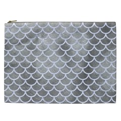Scales1 White Marble & Silver Paint Cosmetic Bag (xxl)  by trendistuff