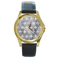 Royal1 White Marble & Silver Paint (r) Round Gold Metal Watch by trendistuff