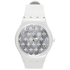 Royal1 White Marble & Silver Paint (r) Round Plastic Sport Watch (m) by trendistuff