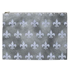 Royal1 White Marble & Silver Paint (r) Cosmetic Bag (xxl)  by trendistuff
