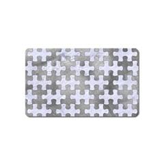 Puzzle1 White Marble & Silver Paint Magnet (name Card) by trendistuff