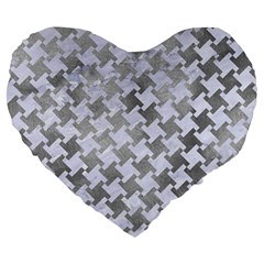 Houndstooth2 White Marble & Silver Paint Large 19  Premium Heart Shape Cushions by trendistuff