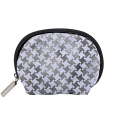 Houndstooth2 White Marble & Silver Paint Accessory Pouches (small)  by trendistuff