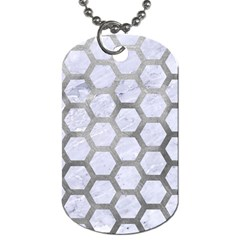 Hexagon2 White Marble & Silver Paint (r) Dog Tag (one Side) by trendistuff
