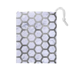 Hexagon2 White Marble & Silver Paint (r) Drawstring Pouches (large)