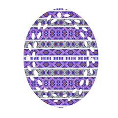 Vintage Striped Ornate Pattern Oval Filigree Ornament (two Sides) by dflcprints