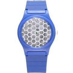 Hexagon2 White Marble & Silver Paint Round Plastic Sport Watch (s) by trendistuff