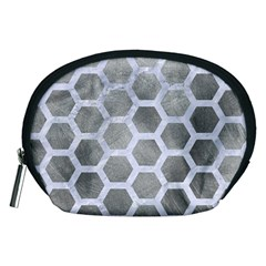 Hexagon2 White Marble & Silver Paint Accessory Pouches (medium)  by trendistuff
