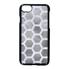 Hexagon2 White Marble & Silver Paint Apple Iphone 8 Seamless Case (black)