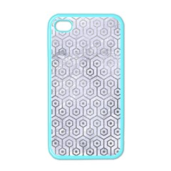 Hexagon1 White Marble & Silver Paint (r) Apple Iphone 4 Case (color) by trendistuff