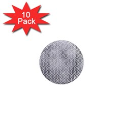 Hexagon1 White Marble & Silver Paint 1  Mini Magnet (10 Pack)  by trendistuff