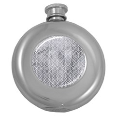 Hexagon1 White Marble & Silver Paint Round Hip Flask (5 Oz) by trendistuff