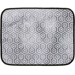 Hexagon1 White Marble & Silver Paint Double Sided Fleece Blanket (mini)  by trendistuff
