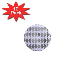 Diamond1 White Marble & Silver Paint 1  Mini Magnet (10 Pack)  by trendistuff