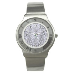 Damask2 White Marble & Silver Paint (r) Stainless Steel Watch by trendistuff