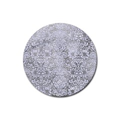 Damask2 White Marble & Silver Paint Rubber Coaster (round)  by trendistuff