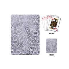 Damask2 White Marble & Silver Paint Playing Cards (mini)  by trendistuff