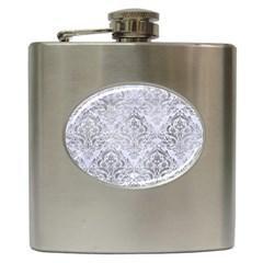 Damask1 White Marble & Silver Paint (r) Hip Flask (6 Oz) by trendistuff