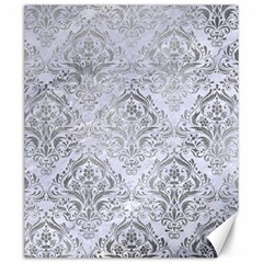 Damask1 White Marble & Silver Paint (r) Canvas 20  X 24   by trendistuff
