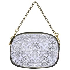 Damask1 White Marble & Silver Paint (r) Chain Purses (one Side)  by trendistuff