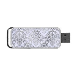 Damask1 White Marble & Silver Paint (r) Portable Usb Flash (one Side) by trendistuff