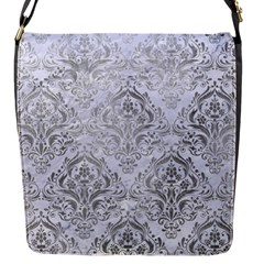 Damask1 White Marble & Silver Paint (r) Flap Messenger Bag (s) by trendistuff