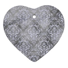 Damask1 White Marble & Silver Paint Ornament (heart) by trendistuff