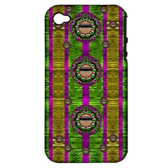 Sunset Love In The Rainbow Decorative Apple Iphone 4/4s Hardshell Case (pc+silicone) by pepitasart