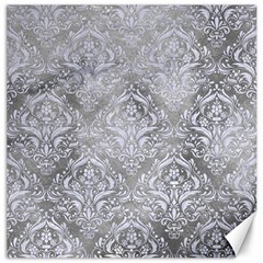 Damask1 White Marble & Silver Paint Canvas 12  X 12   by trendistuff