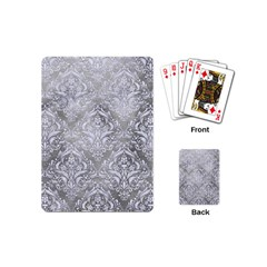 Damask1 White Marble & Silver Paint Playing Cards (mini)  by trendistuff