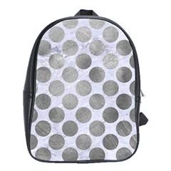 Circles2 White Marble & Silver Paint (r) School Bag (xl) by trendistuff