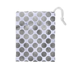 Circles2 White Marble & Silver Paint (r) Drawstring Pouches (large)  by trendistuff