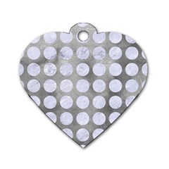 Circles1 White Marble & Silver Paint Dog Tag Heart (one Side) by trendistuff
